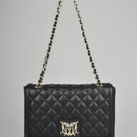 Moschino Medium Quilted Shoulder Bag - Black