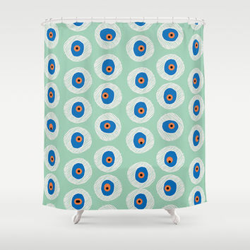 Evil Eye Charm - Hemlock Shower Curtain by alterEGO