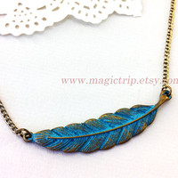 feather necklace, antique brass feather necklace, feather jewelry, vintage style