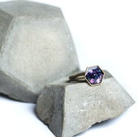 Hexagon ring in nebula color theme, Geometric honeycomb ring with nebula glitter - cosmic galaxy space jewelry