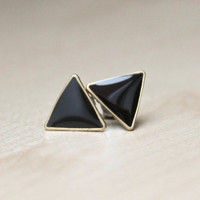 Triangle earring posts in onyx black glossy finish - brass framed geometric earrings - hypoallergenic surgical steel posts - 12mm