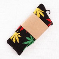 Gemswedding Shop Selling One Pair New Plantlife Marijuana Weed Leaf Cotton High Socks Men/women BJF25