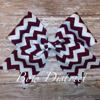 "3"" Maroon and White Chevron Cheer Bow"