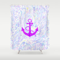 Purple Anchor Shower Curtain by Ornaart