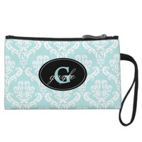 Aqua Damask Monogram Wristlet Bag