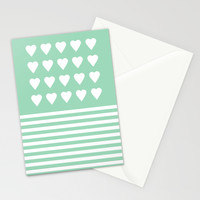 Heart Stripes Mint Stationery Cards by Project M
