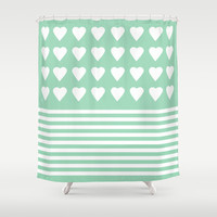 Heart Stripes Mint Shower Curtain by Project M
