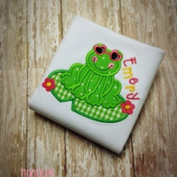 Frog Girl Applique Personalized Shirt