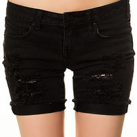 The Savage Skinny Bermuda Shorts in Worn Black