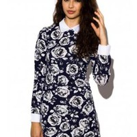 Blue Floral Print Collared Dress