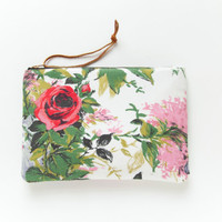 ROSES Make Up Clutch. Large Floral Make Up Bag.
