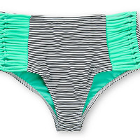 Damsel Mint Mini Stripe High Waisted Bikini Bottom