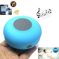 Kltech New Waterproof Wireless Bluetooth Shower Speaker Handsfree Speakerphone Compatible with All Bluetooth Devices Iphone 5s and All Android Devices (Blue)