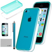 Pandamimi ULAK(TM) Ultra Slim Clear Back Soft Premium Hybrid Case Cover with Shock Absorption Bumper for Apple iPhone 5C and Screen Protector with Stylus (Blue w/Bumper)