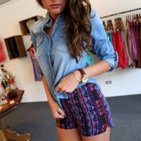 High Waisted Aztec Shorts