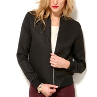Final Sale - Textured Zip Front Bomber in Black