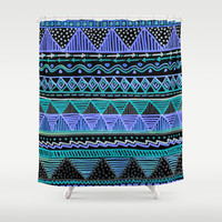Ocean T Blue Shower Curtain by Lisa Argyropoulos