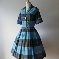 vintage 1950s dress / 50s dress / blue plaid day dress