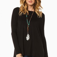 COZY LONG SLEEVE TOP IN BLACK BY PIKO