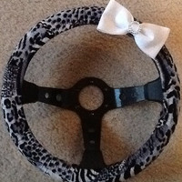 Gray cheetah print steering wheel cover with white glitter bow