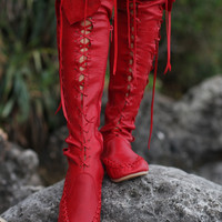 Red Knee High Leather Boots