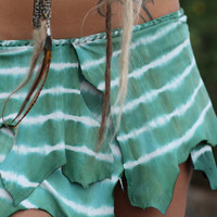 Antique Green Tie-Dye Leather Belt Skirt