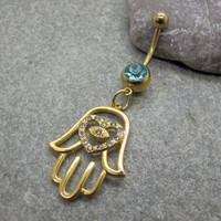 Gold hamsa hand belly button ring ,evil eye belly ring,belly button jewelry,friendship belly rings,summer jewelry