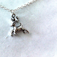 Small dainty silver deer pendant necklace, gifts for her, simple jewelry, deer necklace, deerpark, fun jewelry
