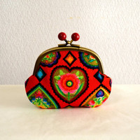 Vintage retro novelty frame purse in Red