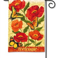 Orange Poppies Garden Flag