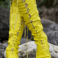 Yellow Knee High Leather Boots