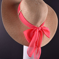 Floppy Hat with coral bow