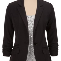 3/4 Sleeve One Button Boyfriend Blazer