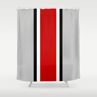Ohio State Helmet Stripe Shower Curtain by Timothy Davis