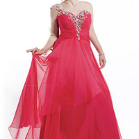 6620 Asymmetrical Long Gown by Party Time Plus Prom Dresses, Evening Dresses and Cocktail Dresses | McHenry | Crystal Lake IL