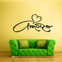 Wall Vinyl Sticker Decals Decor Art Bedroom Design Mural Words Sign Quote Amore Heart Font (z884)