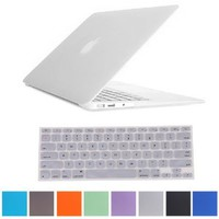 "HDE® Frosted Rubberized Hard Shell Case + Matching Keyboard Skin for Macbook Air 11.6"" A1370 and A1465 models (Clear)"