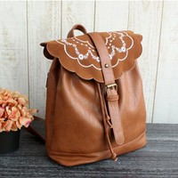 Vintage Flower Embroidery PU Leather Backpack