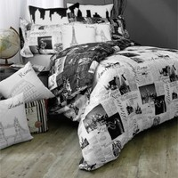 Passport Reversible Duvet Cover Set, 100% Cotton