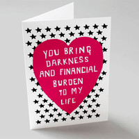Funny Romantic Card - Financial Burden