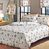 NEW! Custom Queen or Full Size Mint - Teal - Turquoise Blue Floral Print on White Backround Bedding Set, Honey - Beige - Caramel Sheet