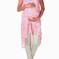 Coral-White-Wave-Striped-Maternity-Dress