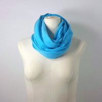 "Pool Blue Infinity Scarf - The ""Petite"" Turquoise Blue Eternity Scarf - Kids and Adult Scarf"