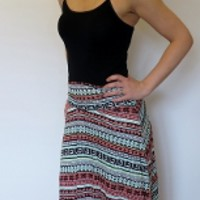 Coral and Mint Pattern Maxi Skirt