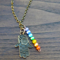 Chakra Necklace with Healing Hand Pendant, Healing Hand Necklace, Chakra Necklace