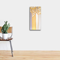 "Abstract Acrylic Painting Original Fine Art 12""x24"" by Linnea Heide - yellow ochre - metallic gold - modern minimal - trees landscape"