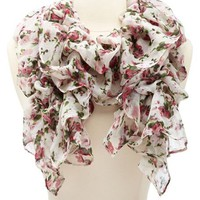 CINCHED FLORAL PRINTED RUFFLE SCARF