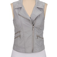 Faux leather zip pocket moto vest