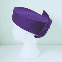 Pill Box Hat With Large Bow / Vintage Hat / Royal Purple / Wedding / Races / Occasion Wear