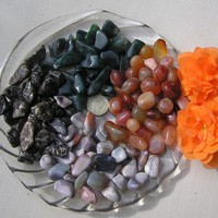 16 Crystal Tumblestones - Carnellian, Botswana, Turitella & Green Moss - Stabilize with Agates